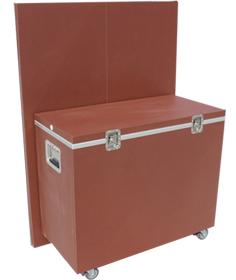 展示パネル(畳んだ状態)と展示台兼搬送ケース